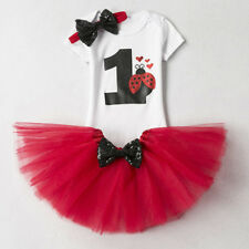1st Birthday Baby Girl Kid Smash Outfits Romper Tutu Skirt Top Headband Clothes