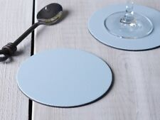 Set of 8 PASTEL BLUE ROUND Leatherboard COASTERS