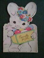 Unused Vintage Die Cut Flocked Easter Bunny Greeting Card Grandma