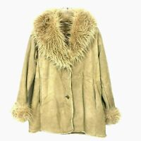 Wilsons Leather Womens Jacket Medium Coat Tan Suede Faux Fur Collar Trim Cuffs