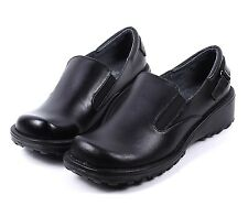Black New Genuine Leather Slip On Womens Wedges Heels Oxfords Shoes Size 6