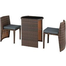 tectake Table de Jardin 60x50x75 cm avec 2 Chaises de Jardin - Gris (800692)