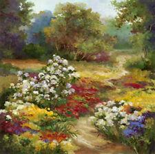 Private Garden by Alix Stefan Canvas Giclee Landscape Flowers Floral 36x36 VCS
