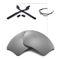 New WL Polarized Titanium Lenses+Black Rubber Kit For Oakley Half Jacket 2.0 XL