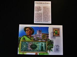 """Münz- und Banknotenbrief  Paraguay """"Chaco - Soldat"""" mit Münze + 1 Guarani Schein"""