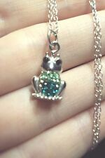 "Frog prince green Swarovski crystals 925 sterling silver pendant 18"" necklace"