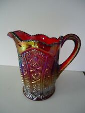"""Vintage Heirloom Daisey Carnival Glass Iridescent Red 8"""" Pitcher"""