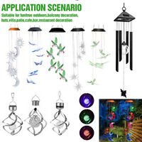 LED Color-Changing Power Solar Wind Chimes Yard Home Garden Decor Lamp