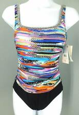 NWT NEW Profile By Gottex Multi Matrix One Piece Swimsuit 8 $118 mr29