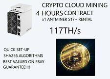 2x BITMAIN-S17-117TH/s Rental-ASIC-SHA-256-Bitcoin-CLOUD-MINING-CONTRACT- 4Hours