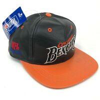 Vintage Cincinnati Bengals Modern Brand Leather Snapback Hat Black Orange Silver