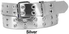 Men Women Unisex 1, 2 Holes Row Grommet Bonded Leather Belt Removable Buckle