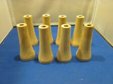 """LOT OF 8 SOLID OAK WOOD LUMBER FURNITURE TABLE LEGS TURNINGS 4"""" TALL WITH HOLE"""