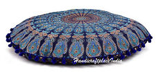 "32"" Large Mandala Art Floor Pillows Round Meditation Cushion Cover Ottoman Pouf"