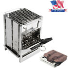 Portable Folding Stainless Steel Wood Burning Stove Outdoor Camping Picnic BBQ photo