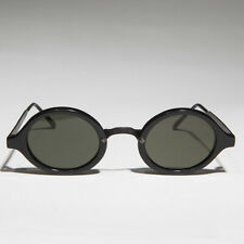 Art Deco Oval Sunglass with Embossed Metal Temples Black/Green Lens - Degas