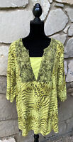 LIZ & ME Tunic Top Plus Size 1X 18 20W Green Animal Print T Shirt Knit Womens
