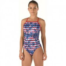 SPEEDO STARS STRIPES ABSTRACT ONE BACK ENDURANCE LITE ONE PC SWIMSUIT (blue/red)