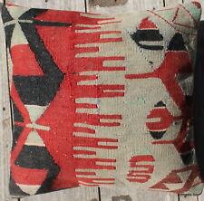 (45*45CM, 18 INCH) Boho handwoven kilim cushion cover esme red pale blue