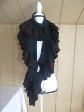 $68 Lauren Ralph Lauren Women's Rib Knit Ruffle Scarf, black/ striped,  One size