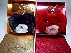 NWT Michael Kors Teddy Bear Pom Pom Fur Key Chain, Cherry / Black