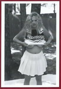 Vintage Risque Photo~Perfect Thick Body Big Full Sized Pinup Cheerleader Poses