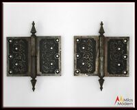 "Vintage 1900 Pair 2 Heavy Steel Ornate Victorian Door Hinge Hinges 5"" x 7"" NICE!"