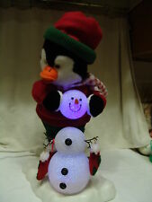 VINTAGE ANIMATED COLOR CHANGING LIGHTS PENGUIN BUILDING A SNOWMAN FREE SHIPPING