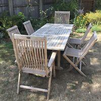 Stunning Teak garden table and six teak chairs garden furniture patio set