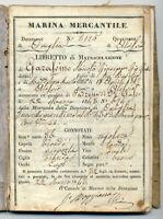 REGIA MARINA MERCANTILE-ALASSIO 1843-LIBRETTO di MATRICOLAZIONE-
