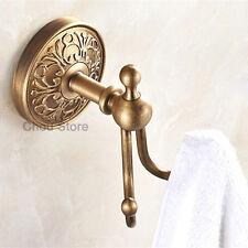 Bathroom Antique Brass Towel Hook Rack Wall Mounted Dual Robe Hook Coat Hanger