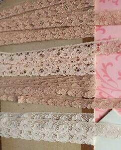 4 PEACH Tan French Antique Lace ALENCON Trim 6 yrds wedding Floral