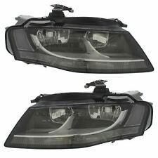 Audi A4 B8 2008-2012 Black Front Headlight Headlamp Pair Left & Right