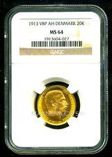 DENMARK 1913 VBP AH GOLD COIN 20 KRONER * NGC CERTIFIED GENUINE MS 64 * FABULOUS