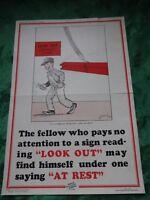 Affiche prévention des accidents années 30/40 : The fellow who ....