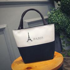 Paris Tower Women's Canvas Clutch Bag Lunch Bag Box Tote Handbag