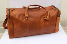 NEWLY Men's Leather Brown Genuine Duffle Bag Yoga Gym Luggage Travel Bags