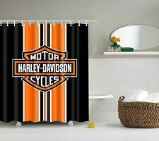 Harley Davidson Black White Orange Motorcycle Fabric Shower Curtain + Hooks