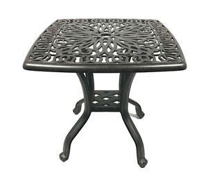 Outdoor End Table  Patio Furniture Cast Aluminum Elisabeth Rust Free Bronze