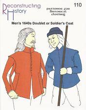 Motivi di sezione RH 110 PAPER PATTERN 1640s Doublet or Soldier 'S COAT