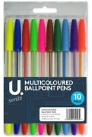 10x COLOURED BALL POINT PENS Assorted Colour School Colouring Stationery Biros