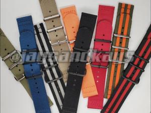 JaysAndKays® 22mm 2-Piece 3-Ring Classic Nylon Watch Strap Band