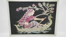 VTG India Folk Art Glitter Black Canvas Painting Indian Woman Kitchsy Wall Art