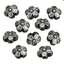 Antique Silver Double Sided Flower Spacer Beads 14mm PK10 (B28/4)