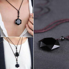 1X Natural Black Hexagram Obsidian Lucky Pendant Necklace Sweater Jewelry Gift