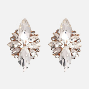 Gold Clear Crystal Style Fashion Statement Plated Earrings. Zara Stud Style