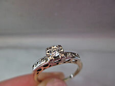 Antique Style Solid 10K Yellow&White Gold 1/4Ct Natural Diamond Engagement Ring