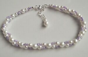 Lilac white glass pearl stretch anklet ankle bracelet bridal prom ankle chain