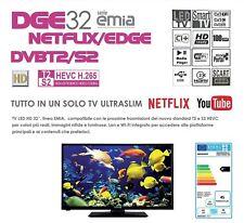 """* NEW MODEL * TV 32"""" DIGIQUEST DGE 32 SERIE EMIA DVBT2/S2 NETFLIX/EDGE"""