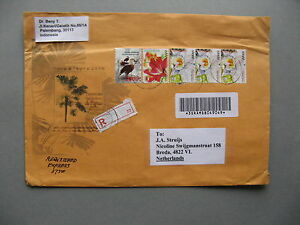 INDONESIA, R-cover to the Netherlands 2007, high values ao flower daffodil